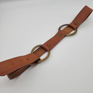 Express O Ring Brown Leather Belt, sz M